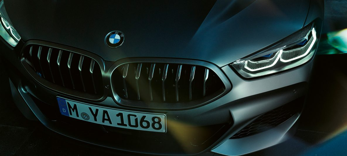 Doppelniere BMW M850i xDrive Gran Coupé G16 2019 BMW Individual Frozen Bluestone metallic Nahaufnahme Front